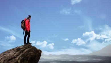 man at mountain top