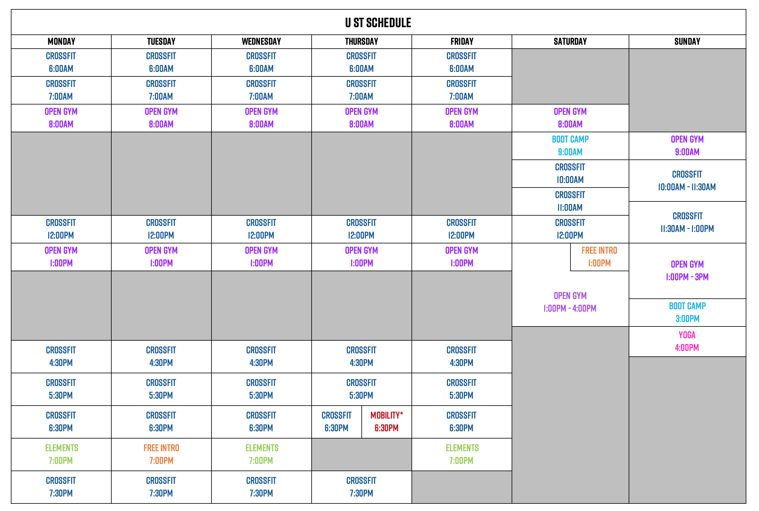 Schedules and Events