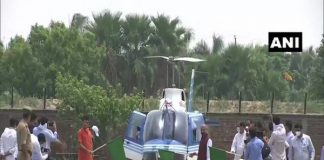 Union Minister Narendra Singh Tomar flags off helicopter for locust control operations (Photo: ANI)
