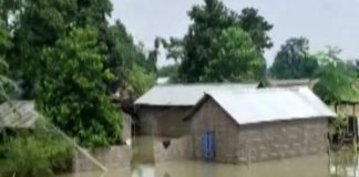 A visual of houses submerged in the floodwaters in Assam. (Photo/ANI)