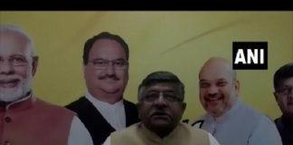 Union Minister Ravi Shankar Prasad interacting with the non-resident Biharis via video conference on Sunday. Photo/ANI