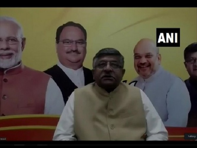 Union Minister Ravi Shankar Prasad interacting with the non-resident Biharis via video conference on Sunday. Photo/ANI