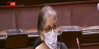 Union Finance Minister Nirmala Sitharaman speaking at the Rajya Sabha on Saturday.
