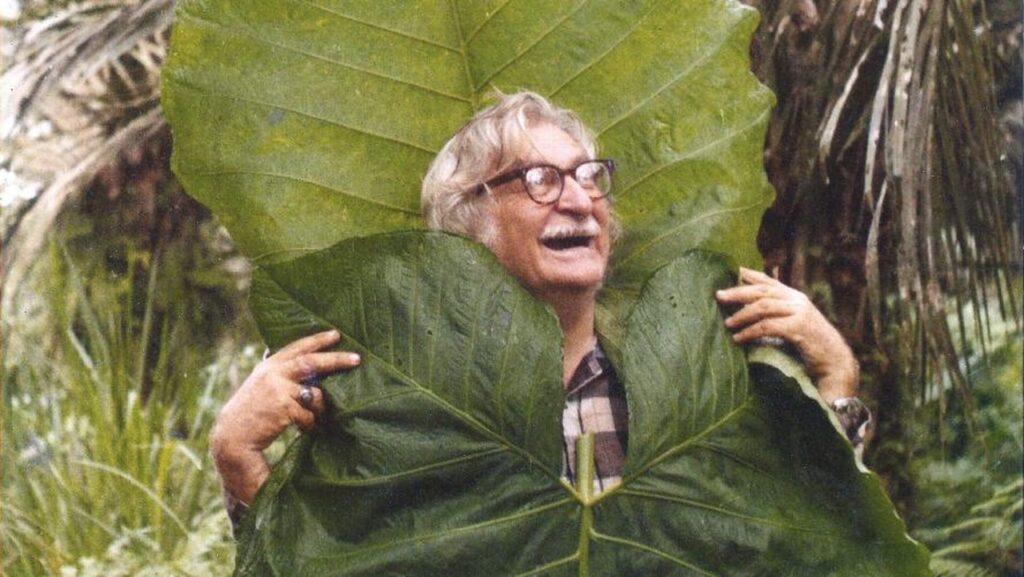 Burle Marx enrolado em uma folha enorme e sorrindo