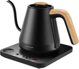 電子ケトル(HAGOOGI (ハゴオギ ) 電気ケトル コーヒー 電気ポット 0.8L 1200W 温度設定(1℃単位)/保温機能/空焚き防止 細口 ドリップ ケトル 湯沸かしポット ステンレス ブラック)