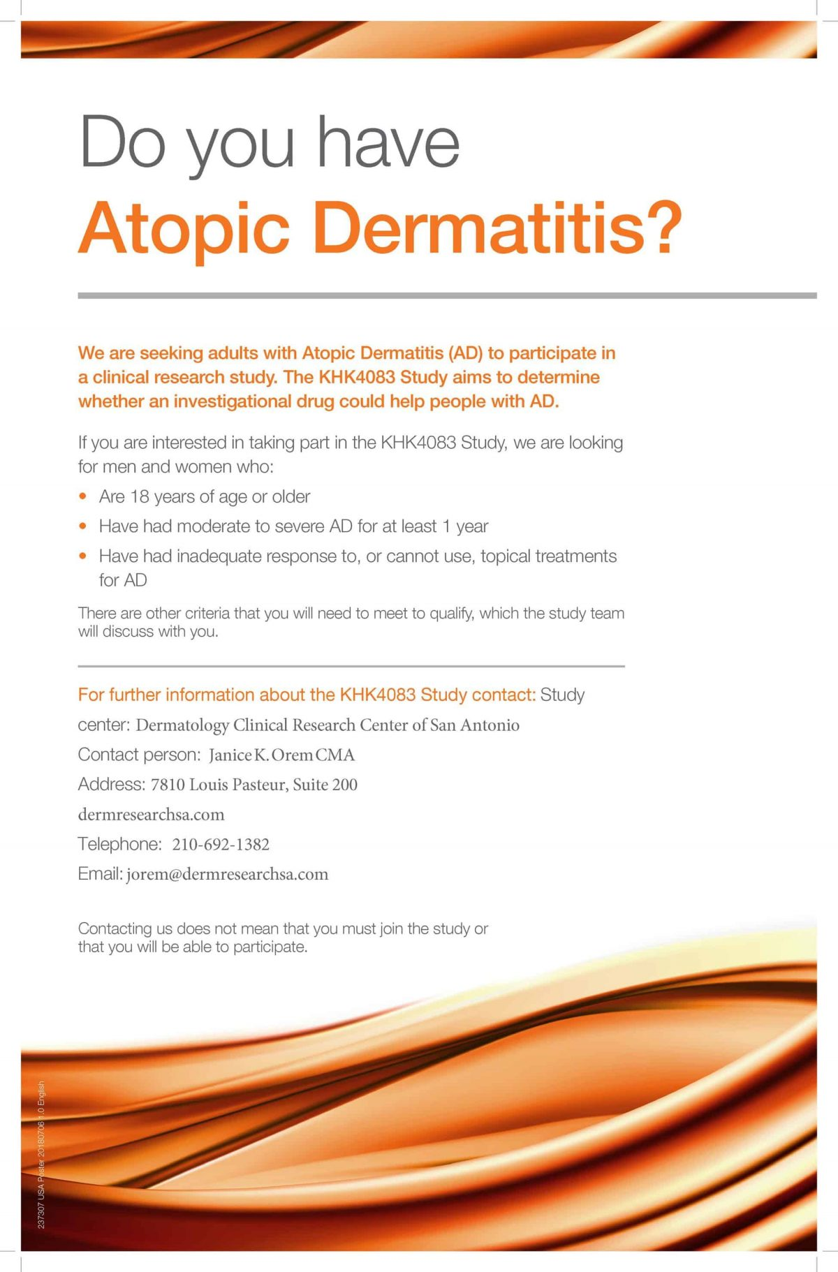 eczema clinical trial information flyer