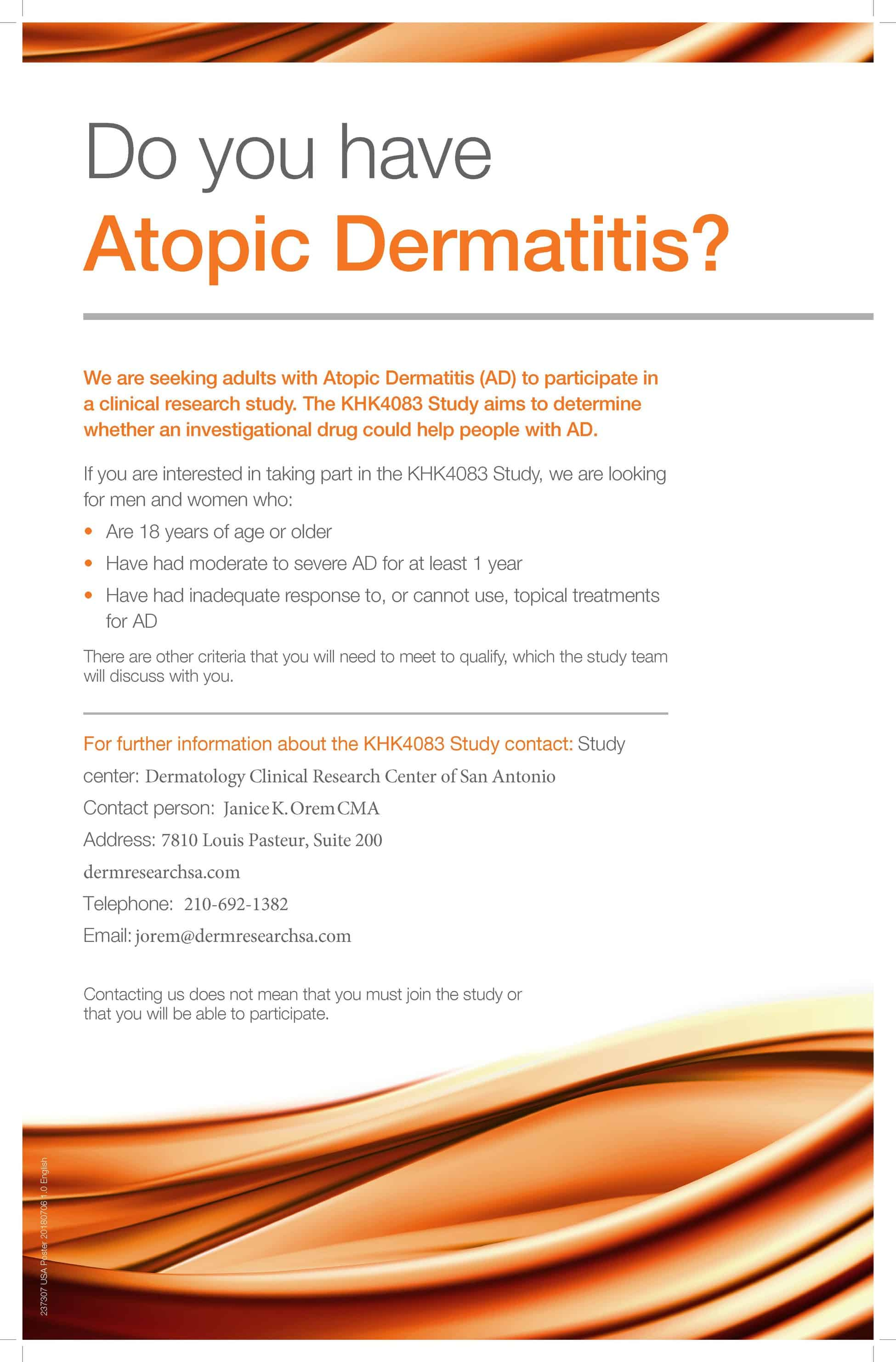 Eczema/Atopic Dermatitis Study - Up to $2200 Compensation