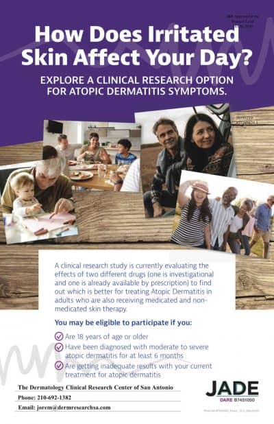 informational flyer about a clinical trial for Atopic Dermatitis at the Dermatology Clinical Research Center of San Antonio
