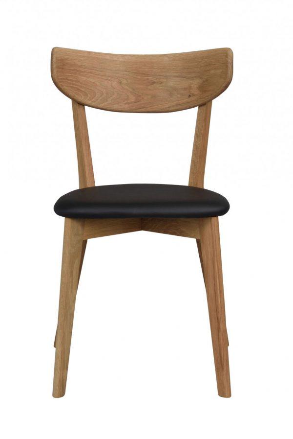 Ami spisebordsstol - lakeret eg og sort PU læder