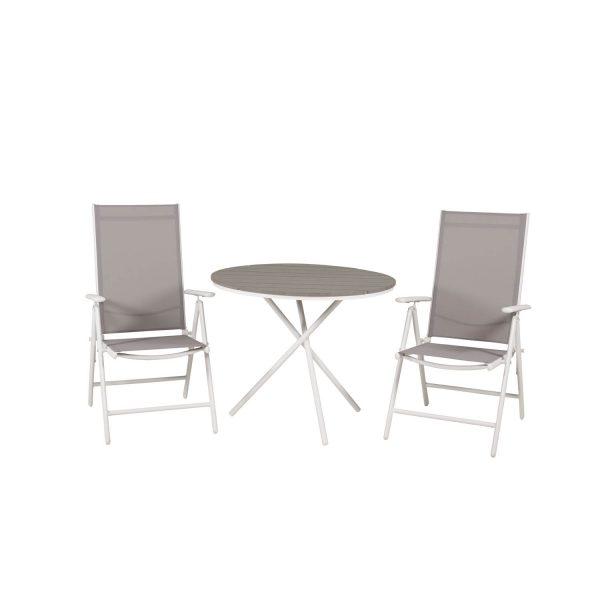 VENTURE DESIGN havesæt m. Parma Cafébord (Ø 90) og 2 Break stole m. armlæn - hvid alu/grå textilene