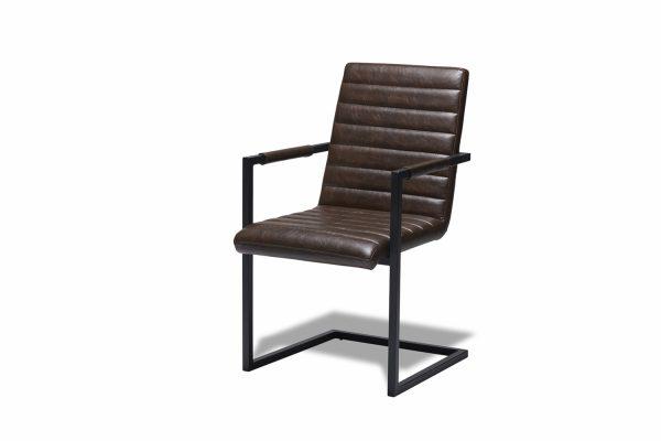 Fanny spisebordsstol - mørkebrunt kunstlæder og sort metal, m. armlæn