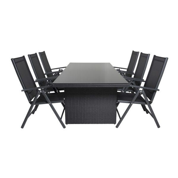 VENTURE DESIGN havesæt, m. Padova bord (200x100) og 6 Break 5:pos. stole, m. armlæn - glas/alu/flet