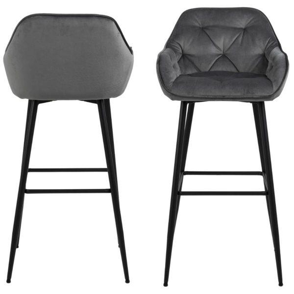 ACT NORDIC Brooke barstol, m. armlæn, ryglæn og fodstøtte - mørkegrå polyester og sort metal