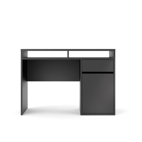 Function Plus skrivebord - mat sort træ, m. 1 låge og 1 skuffe