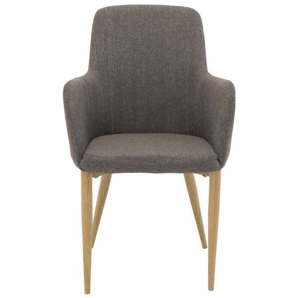 VENTURE DESIGN Comfort spisebordsstol, m. armlæn - mørkegrå polyester og natur metal