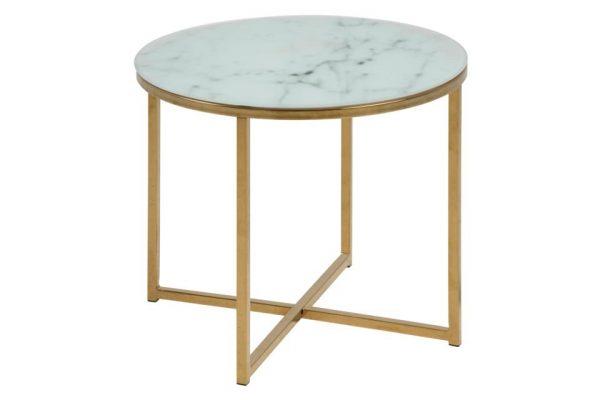 ACT NORDIC Alisma hjørnebord - hvid/guld marmorpapir/metal, rund (Ø50)