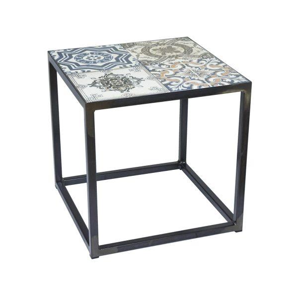 SPINDER DESIGN kvadratisk Ibiza Blacksmith hjørnebord - multifarvet keramik og stål (40x40)
