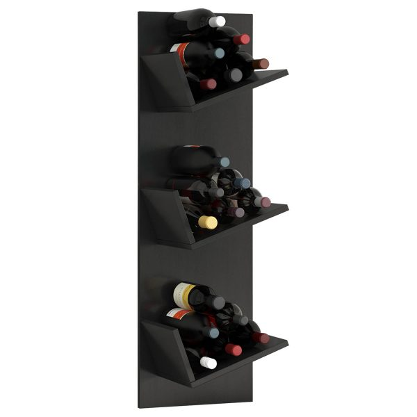 Vinosi vinreol, m. plads til 18 vinflasker - sort træ
