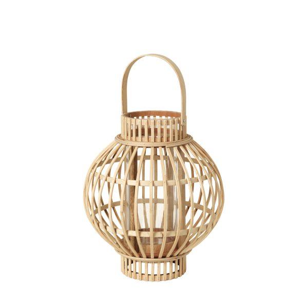BROSTE COPENHAGEN Globus lanterne, rund - glas og natur bambus (Ø27)