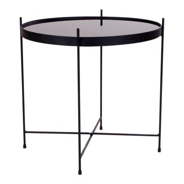 HOUSE NORDIC Venezia hjørnebord - glasbordplade og sort stål, rund (Ø 48)