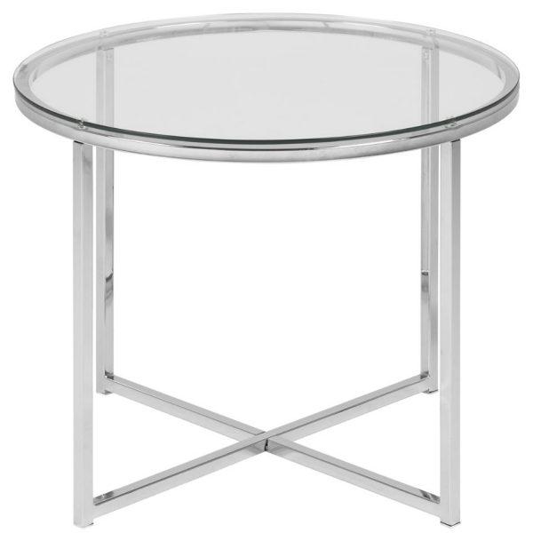 ACT NORDIC Cross hjørnebord, rund - klar glas og krom metal (Ø55)