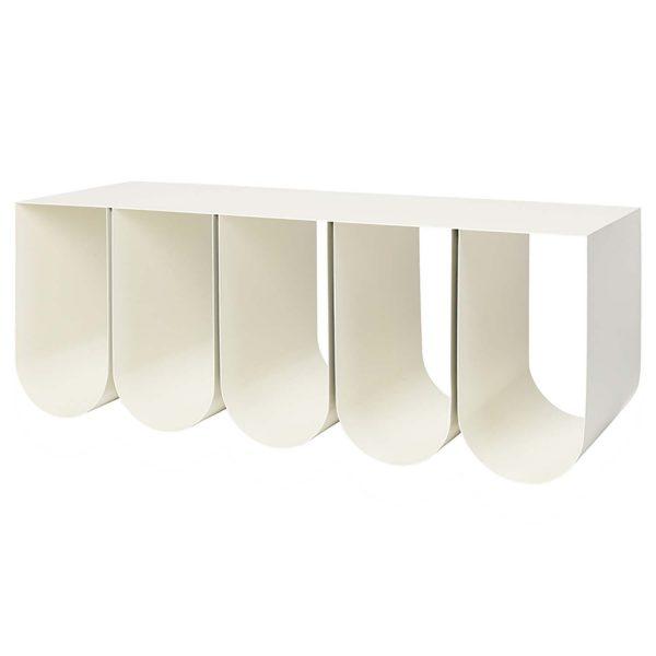 KRISTINA DAM STUDIO Curved bænk, m. opbevaring - beige stål (110x40)