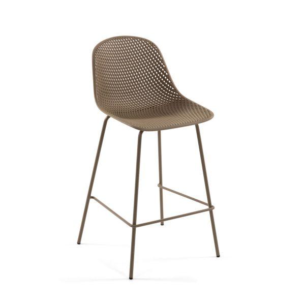 LAFORMA Quinby barstol m. ryglæn og fodstøtte - beige plast og metal