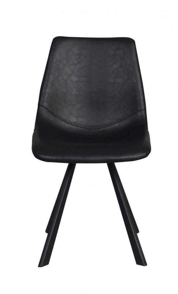 Alpha spisebordsstol - sort PU læder m. metalben