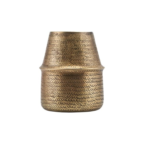 House Doctor Rattan Urtepotte Small - Messingfinish