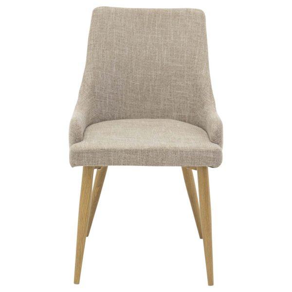 VENTURE DESIGN Plaza spisebordsstol, m. armlæn - lysegrå polyester og metal