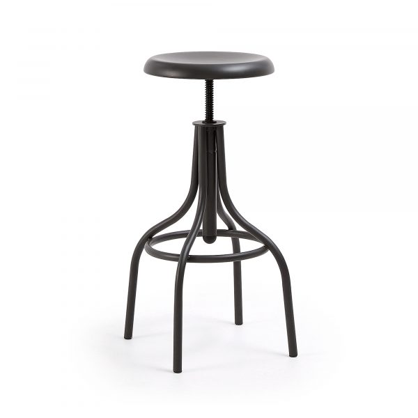 LAFORMA Malisa barstol - grafit grå stål, rund, justerbar