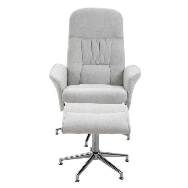 VENTURE DESIGN Rolf recliner lænestol, m. fodskammel - grå polyester og krom metal