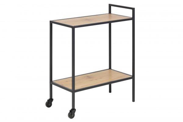Seaford rullebord - natur/sort papir vild eg/metal, m. 2 hjul (60x30)