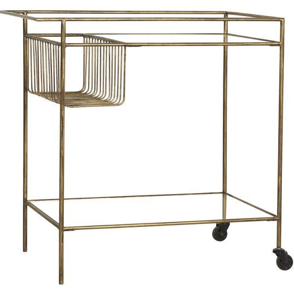 IB LAURSEN rullebord, m.1 hylde og 2 hjul - glas og metal (75x45)