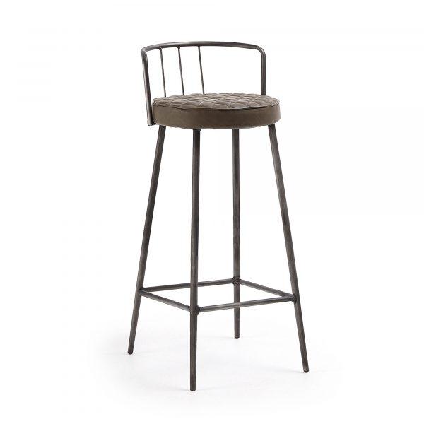 LAFORMA Tiva barstol - brun syntetisk læder og stål