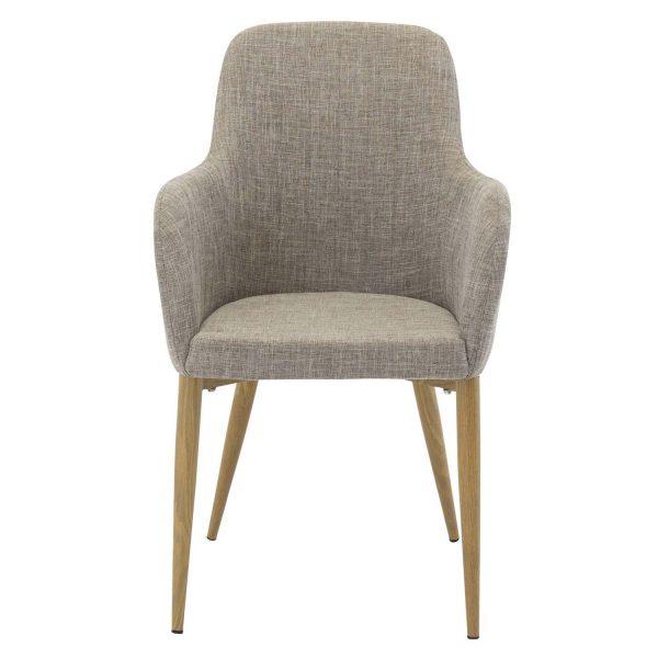 VENTURE DESIGN Comfort spisebordsstol, m. armlæn - lysegrå polyester og natur metal
