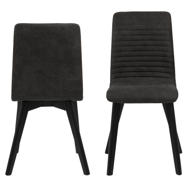 Arosa spisebordsstol - antracitgrå polyester og sort egetræ