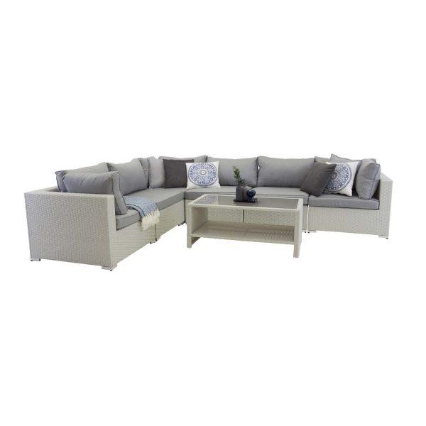 Amazon - Modul Sofa set 3+2+1 - White wicker/Grey cushions