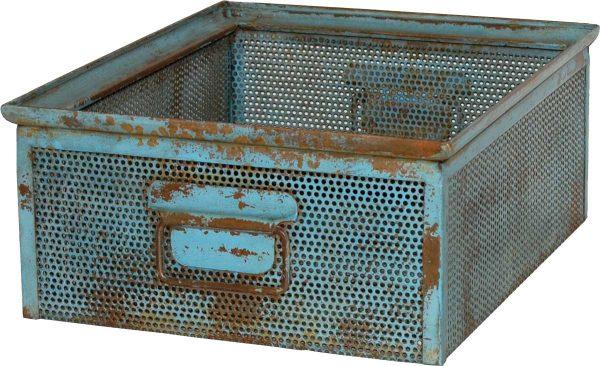 TRADEMARK LIVING kasse - antikblåt perforeret jern m. patina (30x37)