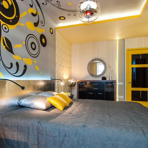 Væg- og loft dekoration, som passer farvetemaet