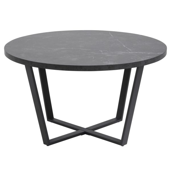 Amble rund sofabord - sort melamin og metal (Ø77)