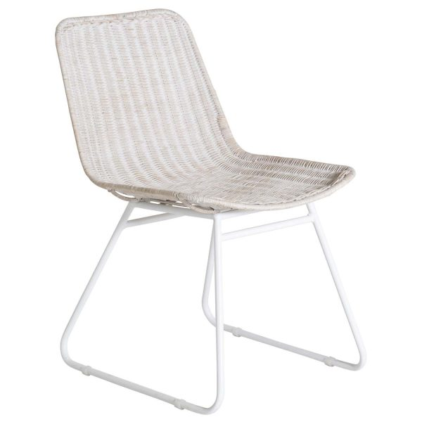 VENTURE DESIGN Cirebon spisebordsstol - hvidvasket natur rattan og hvid metal