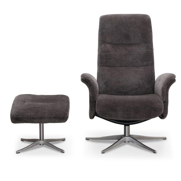 HAGA Ullrik recliner lænestol, m. drejefunktion og fodskammel - mørkegrå polyester og metal