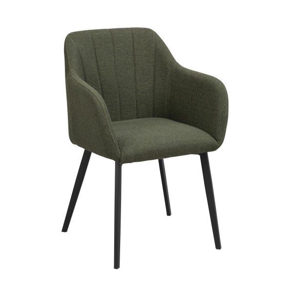 Rowico Bolton spisebordsstol, m. armlæn - grøn polypropylen og sort metal