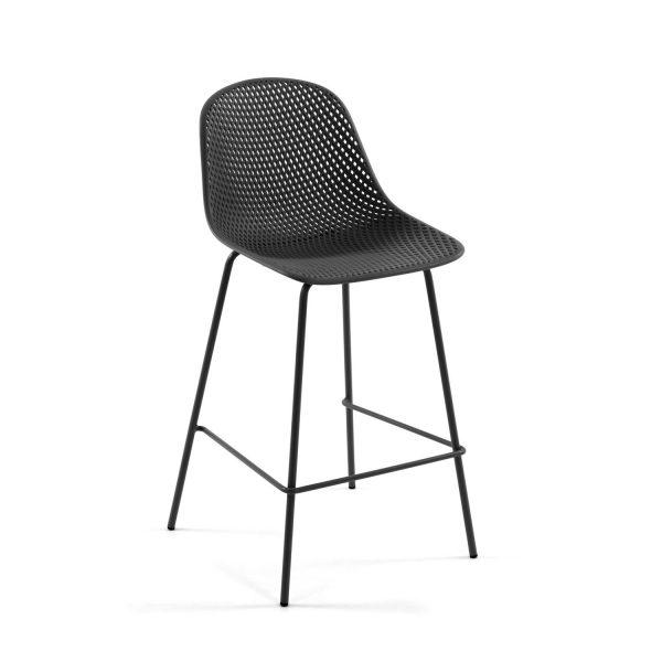 LAFORMA Quinby barstol m. ryglæn og fodstøtte - grafit grå plast og metal