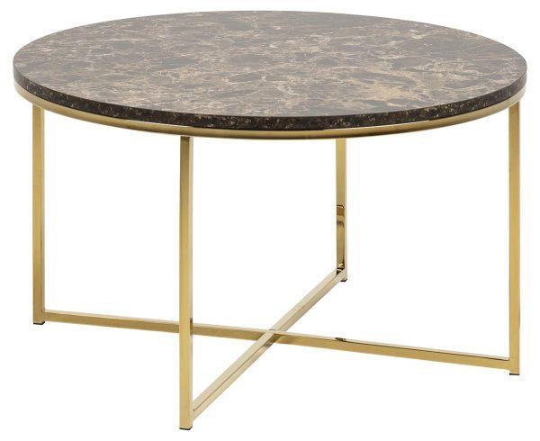 Alisma sofabord - brun/guld marmorpapir/metal, rund (Ø80)