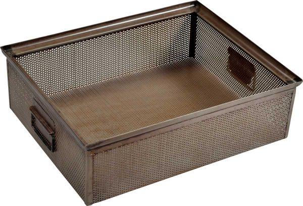 TRADEMARK LIVING kasse - perforeret jern m. klar lak m. patina (40x50)