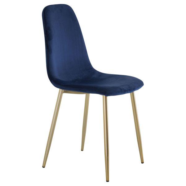 VENTURE DESIGN Polar spisebordsstol - blå velour og messing metal