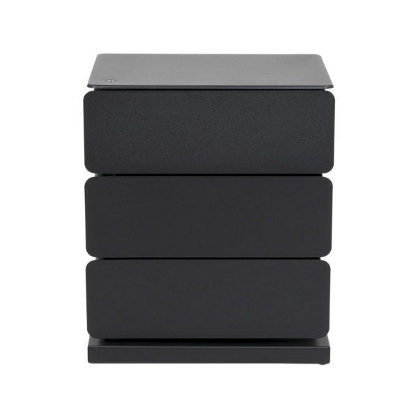 SPINDER DESIGN Joey skoreol/kommode, m. 3 rum - sort pulverlakeret stål (37x26)