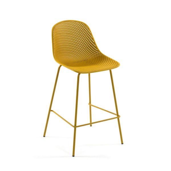 LAFORMA Quinby barstol m. ryglæn og fodstøtte - gul plast og metal